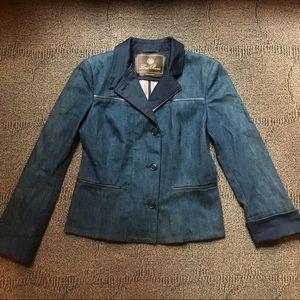 LORO PIANA - Leather Trim blazer jacket, 8